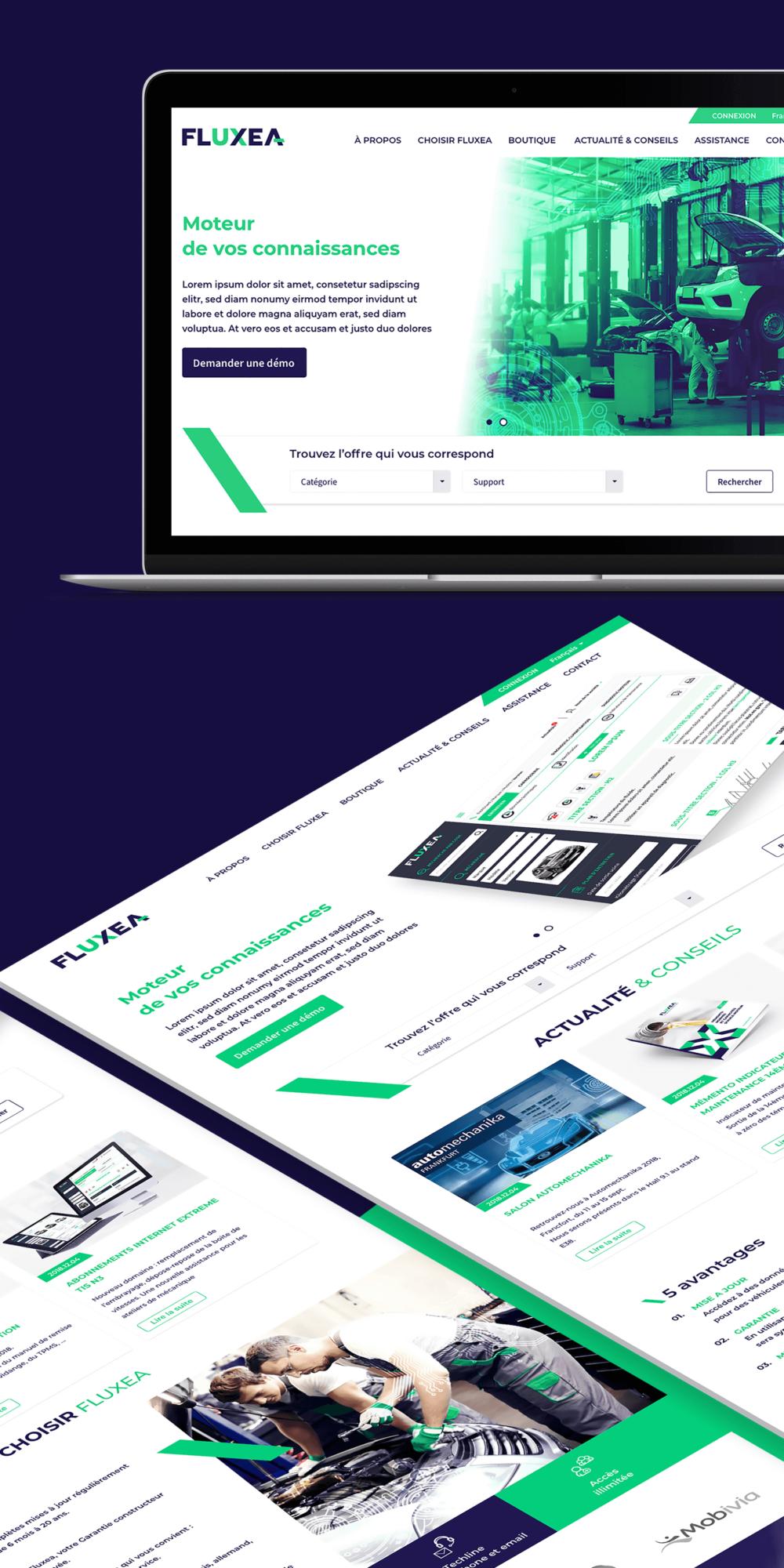 Design du site internet avec partie e-commerce de Fluxea